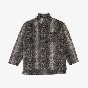 Mock Turtle - Grey Poly Wool Snake Print Knit
