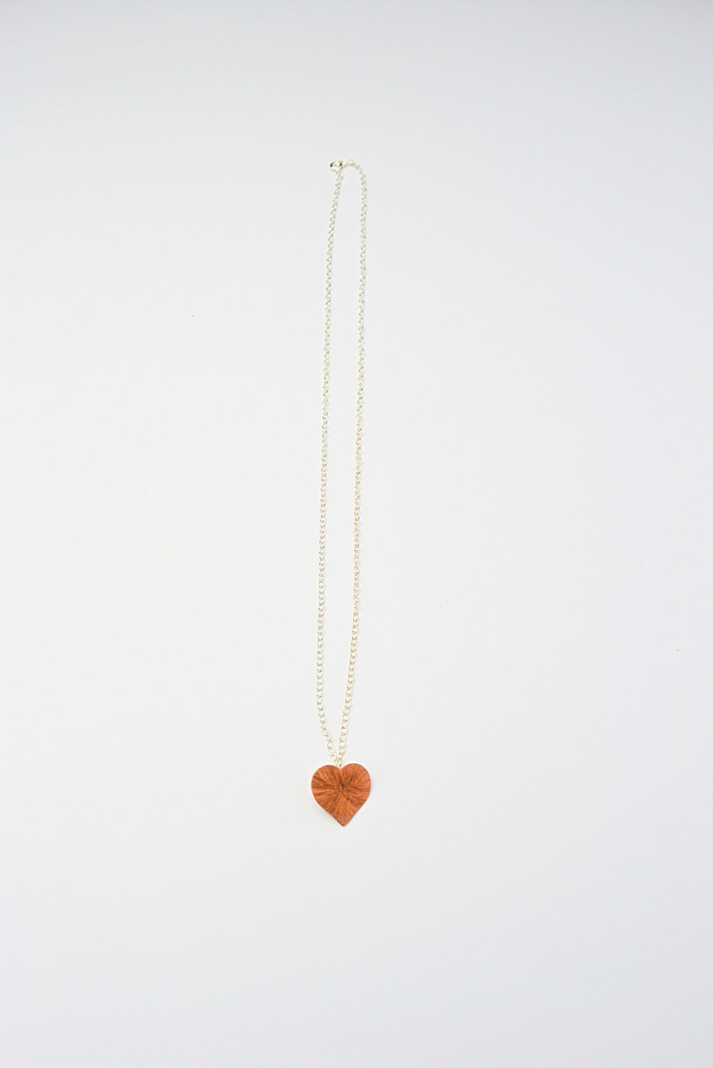 Copper Hammered Heart on Sterling Silver Chain