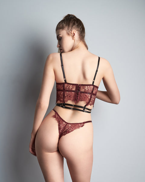 Lace & laces sutien bordo