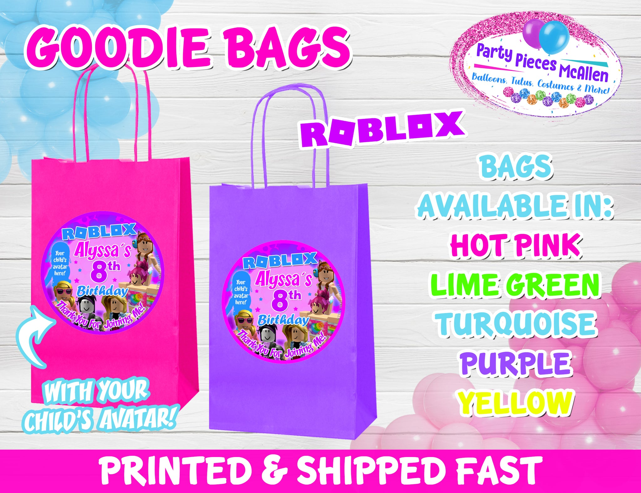 Roblox Profile Viewer Roblox Girl Goodie Bags With Your Child S Avatar Party Pieces Mcallen