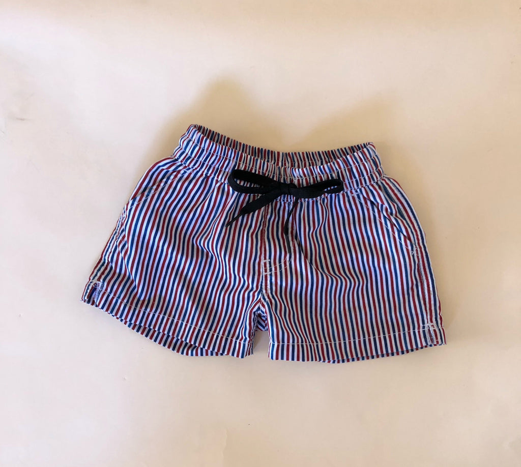 Boys Red & White Stripe Boardshorts