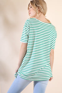 Striped Top with Waist Tie