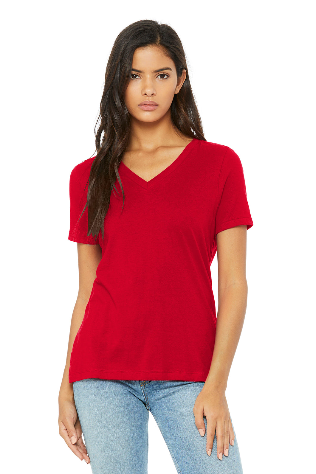 Womens Relaxed Tee V-Neck Red & White