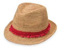 Load image into Gallery viewer, Tahiti Raffia Fedora - Red, Black, or Taupe
