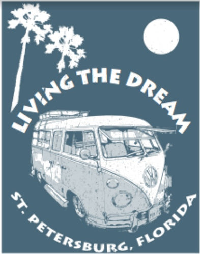 T Shirt Living the Dream St Petersburg Florida - VW Bus