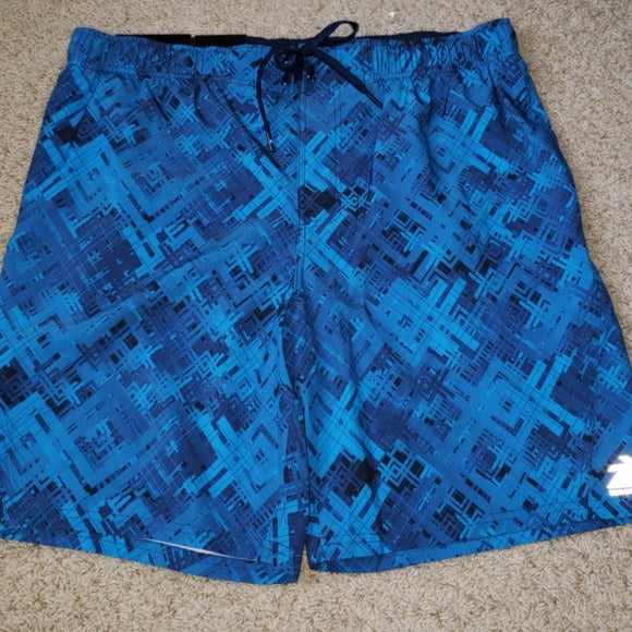 Zeroxposur Blue and Black Swimming Trunks - X-Large
