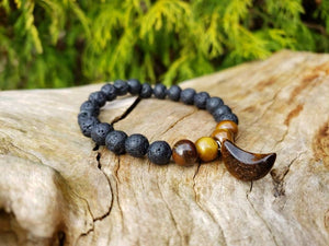 Tiger Eye and Lava Rock Crescent Moon Yoga Mala Prayer Bracelet
