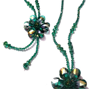 Green Gold tone Crystal look Long Necklace