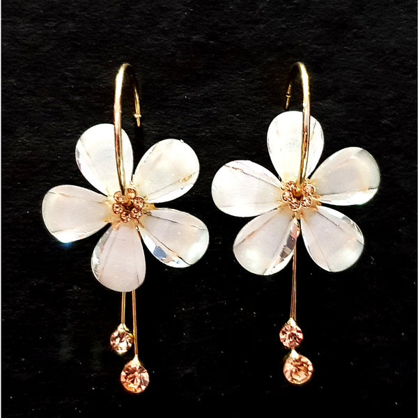 White Golden- Contemporary Floral Design Earrings