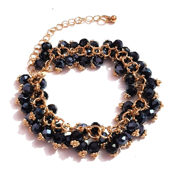 Golden Black Color Crystal bedded Bracelet