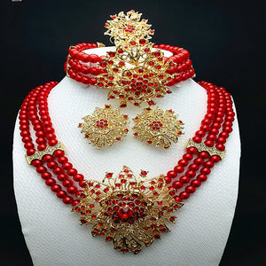 Rhinestone Jewelry Ethiopian Style Jewelry Set Gold Plated with Red Crystals