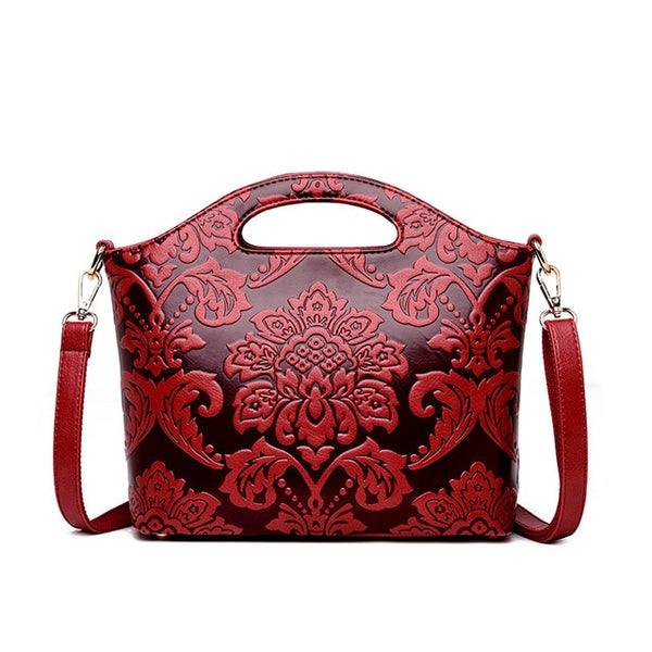 Embossed Leather Luxury Women Handbag 4 Colors