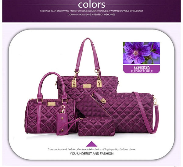 Embroidered Pu Leather High Quality 6 Piece Women Bags Set in 4 Colors