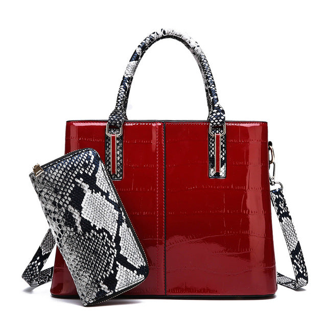 Contrast Color Women Bags Set Patterned Leather Luxury Design 2 Bags Set in 4 Colors