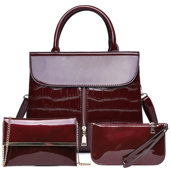 Patterned Leather Luxury Women Handbags 3 Pcs Set in 3 Color Options