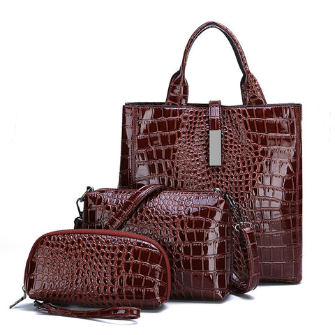 Ladies Leather Bags Set Alligator Skin Design 3 Bags Set in 3 Colors