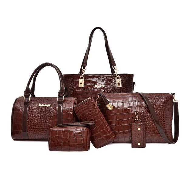 6 Pcs. Luxury PU Leather Vintage Style Women Handbags Set in 3 Colors