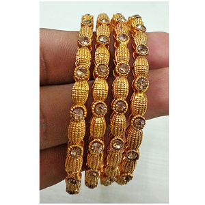 Golden Copper Metal with Polki Work Bangles Set