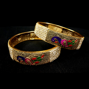 Bangles Set Golden Design Zercon Stone Embedded