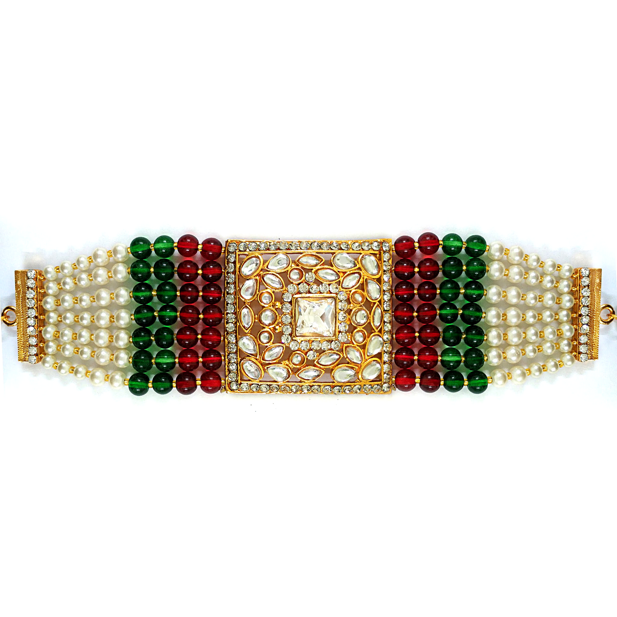 Golden Kundan and Moti Embedded Bracelet