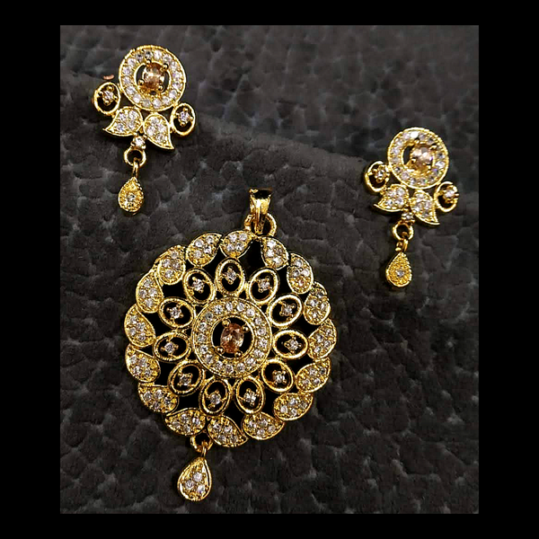 Gold Plated AD American Diamond Embedded Sun Floral Design