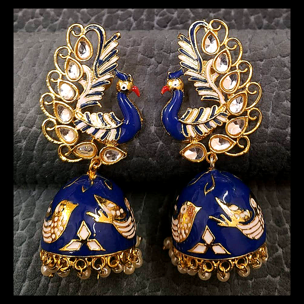 Exclusive Design Kundan Embedded Peacock Design Jhumka
