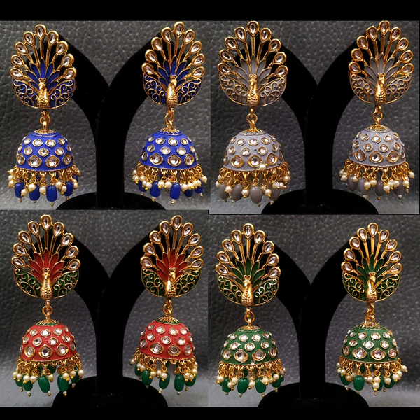 Kundan Jhumka Earring Exclusive Peacock Design