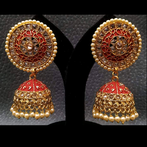 Jhumka Earring Moti -Kundan Embedded Gold plated Exclusive Design