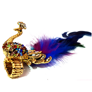Peacock Design With Real Feather Cocktail Ring