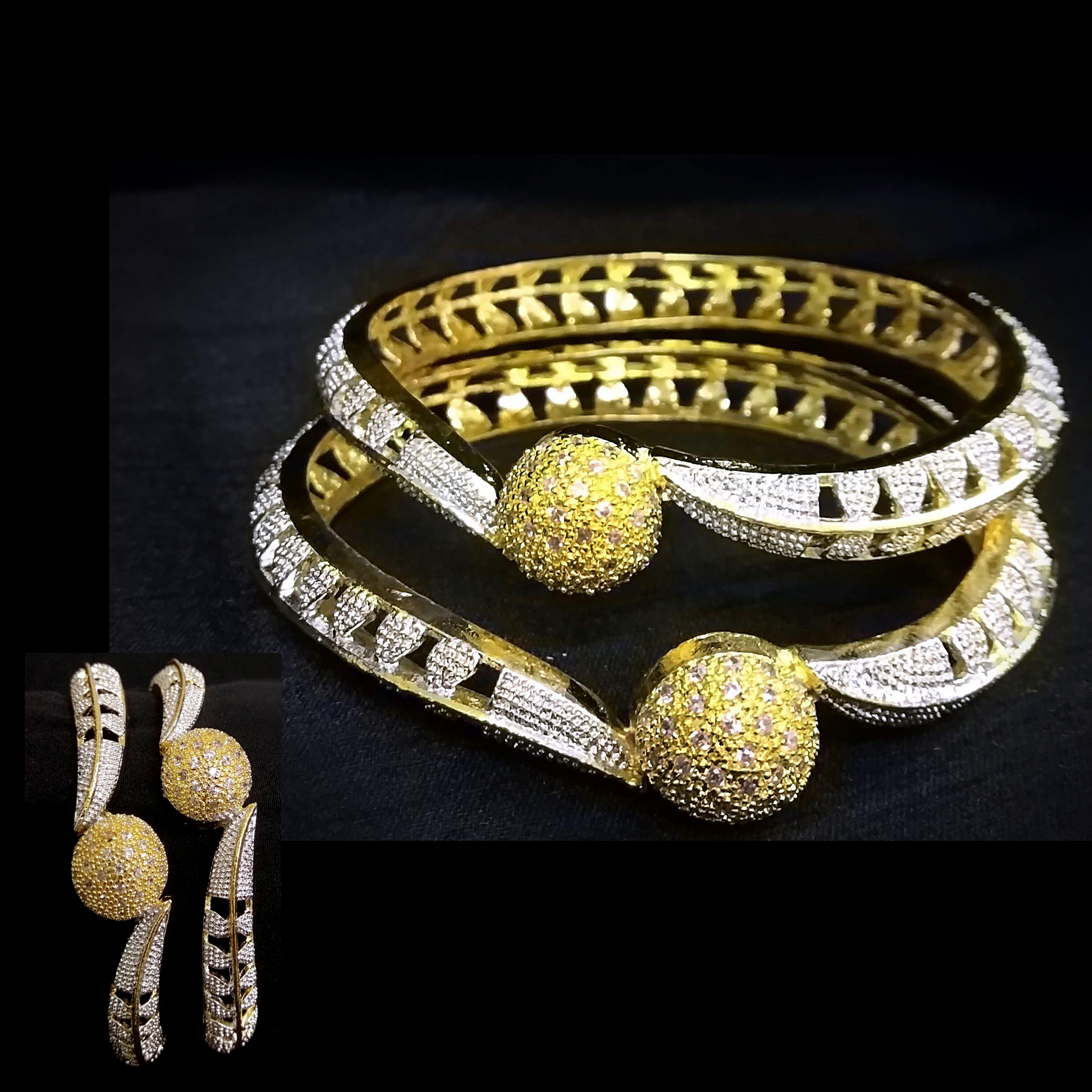 Designer Bengal/Kada Set with Silver and AD Stone Work