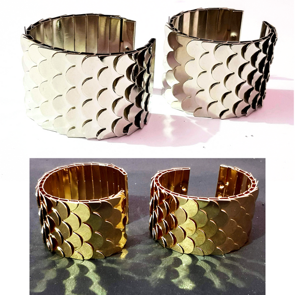 Silver Golden Metal Bracelet Fish Fin Design