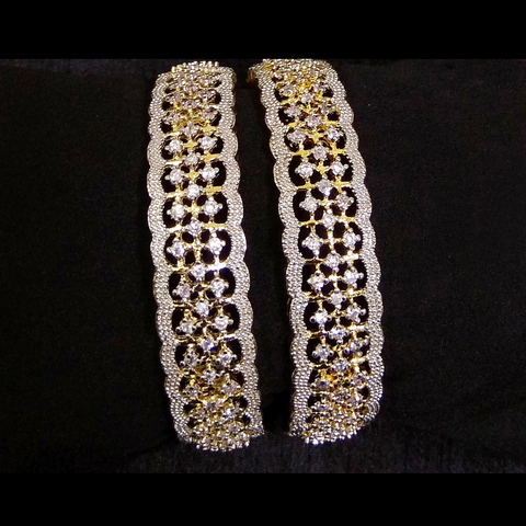 Designer Bengal Kada Set with Silver and AD Stone Work