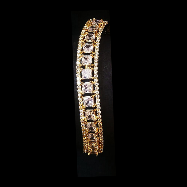 Gold Plated American Diamond AD Embedded Bracelet