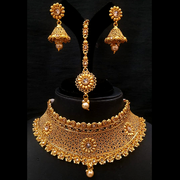 Polki Work Golden Choker Necklace with Earrings Mangtika Party Wear Design