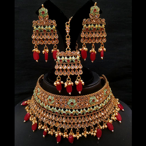 Kundan Moti Work Golden Choker Necklace with Earrings Mangtika Heavy Design