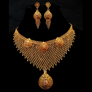 Golden Choker Necklace with Earrings Party Wear Net Design