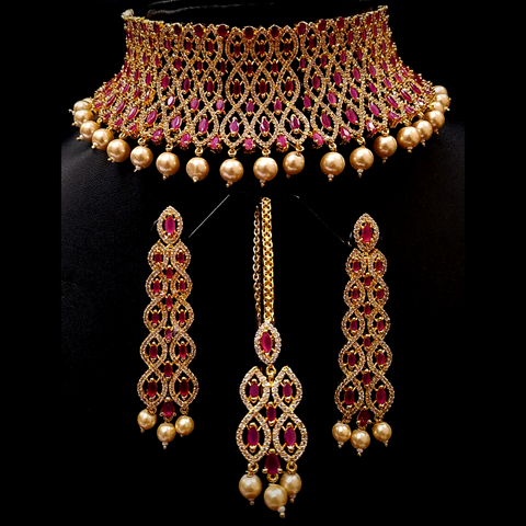 Gold Plated Original American Diamond Embedded Choker Necklace Set with Mangtika
