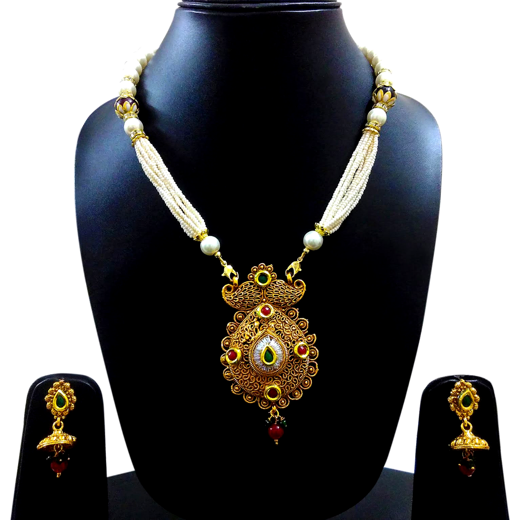 Traditional Design Rani Pendent Necklace Set Handmade