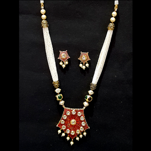 Kundan Look Necklace Set in Golden & Red