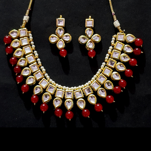 Kundan & Meena Look - Flip & Change Design Necklace Set in Golden - Red