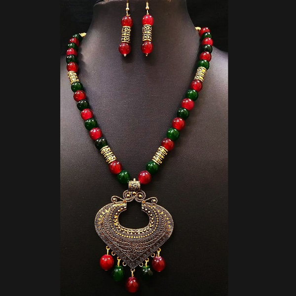 Yellow Antique Moti Mala with heavy golden pendant Necklace Set