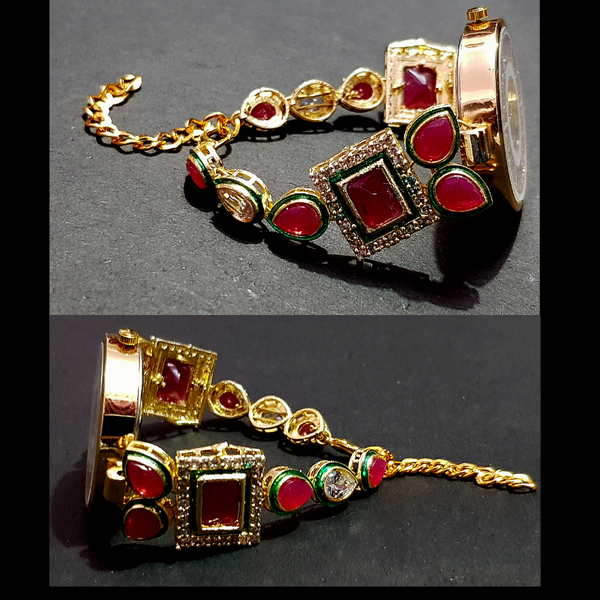 Golden Metal Crystal Stone Beaded Bracelet with Watch -Red