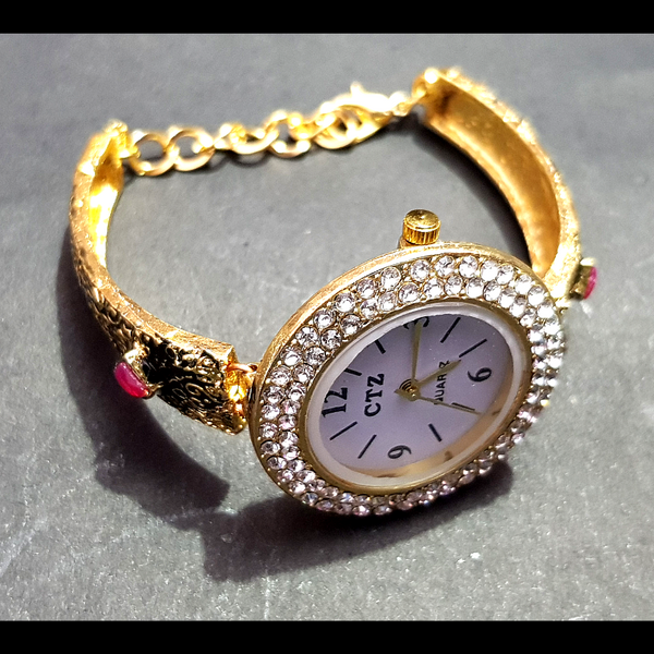 Golden Metal Crystal Stone Beaded Bracelet with Watch