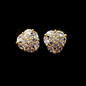 Golden American Diamond Contemporary Handcrafted Tops Earrings