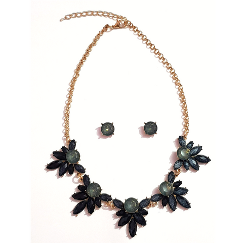 Golden Green Crystal Stone Necklace Set