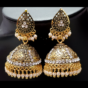 White - Golden Jhumka with White Beads