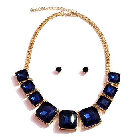Golden Blue Square Crystal Stone Necklace Set
