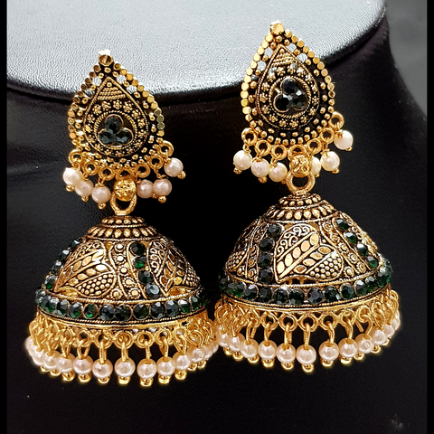 Green - Golden Jhumka with Green Beads