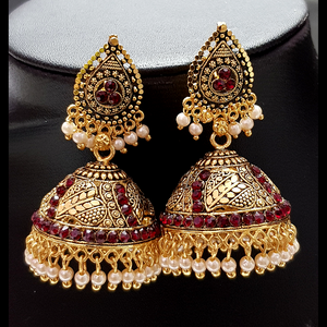 Red - Golden Jhumka with Red Beads