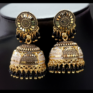 Black - Golden Jhumka with Black Beads